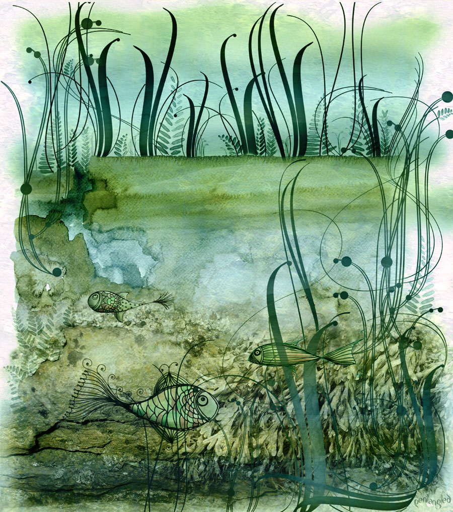 """Digital Pond Life"", doodles in photoshoppery"