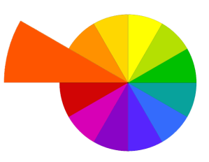 red-orange in the color wheel